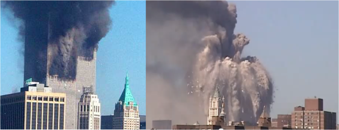 LEFT IMAGE: ODD FACE SHOWS ON SOUTH TOWER. RIGHT IMAGE: STRANGE FIGURE RISES FROM THE SMOKE AS THE NORTH TOWER COLLAPSES.