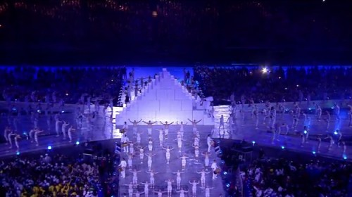 SATANIC PYRAMID REPRESENTING THE NEW WORLD ORDER OF THE AGES BEING DISPLAYED AT THE LONDON OLYMPICS CLOSING CEREMONY.
