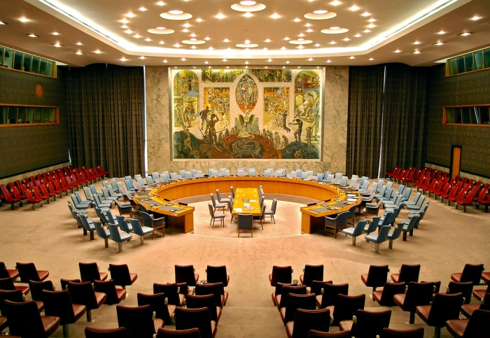 UNITED NATIONS' SECURITY COUNCIL CHAMBER (PHOENIX RISING IN MURAL)