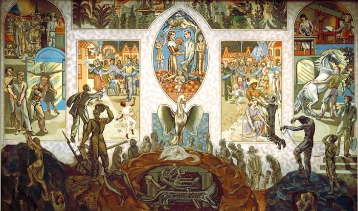 PHOENIX RISING FROM THE ASHES, DEATH, SORROW AND SUFFERING OF THE NATIONS. MURAL IS LOCATED IN THE UN SECURITY COUNCIL CHAMBER (PHOTO: UNITED NATIONS PHOTO)