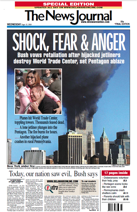 Face in smoke as shown on the front page of The News Journal Newspaper from Wilmington, Delaware.